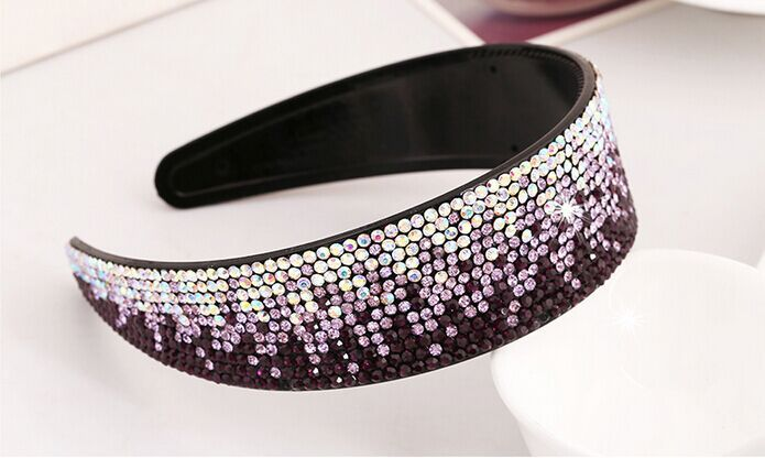 Office Lady Gradient Color Broadside Rhinestone Hair Hoop Dazzling Acrylic Toothed Hair Bands For Women Glitter Girl Hair Bows(China (Mainland))