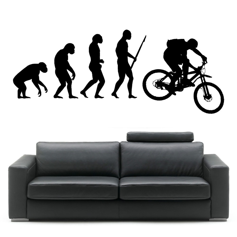 Bike stickers design online - Darwin Evolution Of Man Mountain Bike Art Design Home Decorative Vinyl Wall Mural Creative Wall Sticker