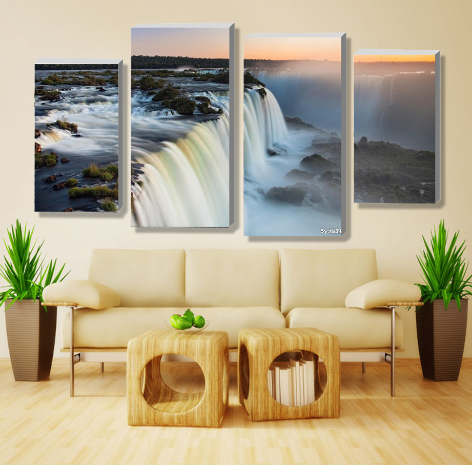 4 panel sets beautiful waterfall landscape painting flowers modern pictures on canvas artwork print customized NO frame(China (Mainland))
