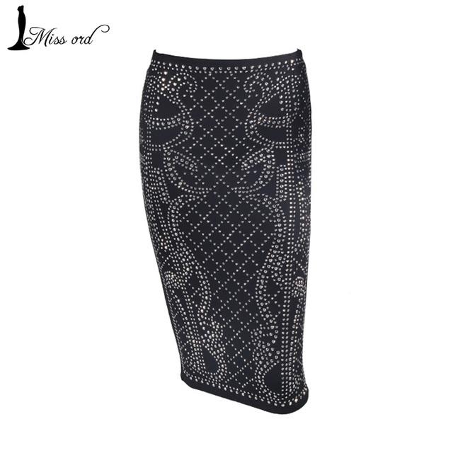 Бесплатная доставка Missord 2015 Sexy Геометрические ретро Горный Хрусталь юбки FT3711