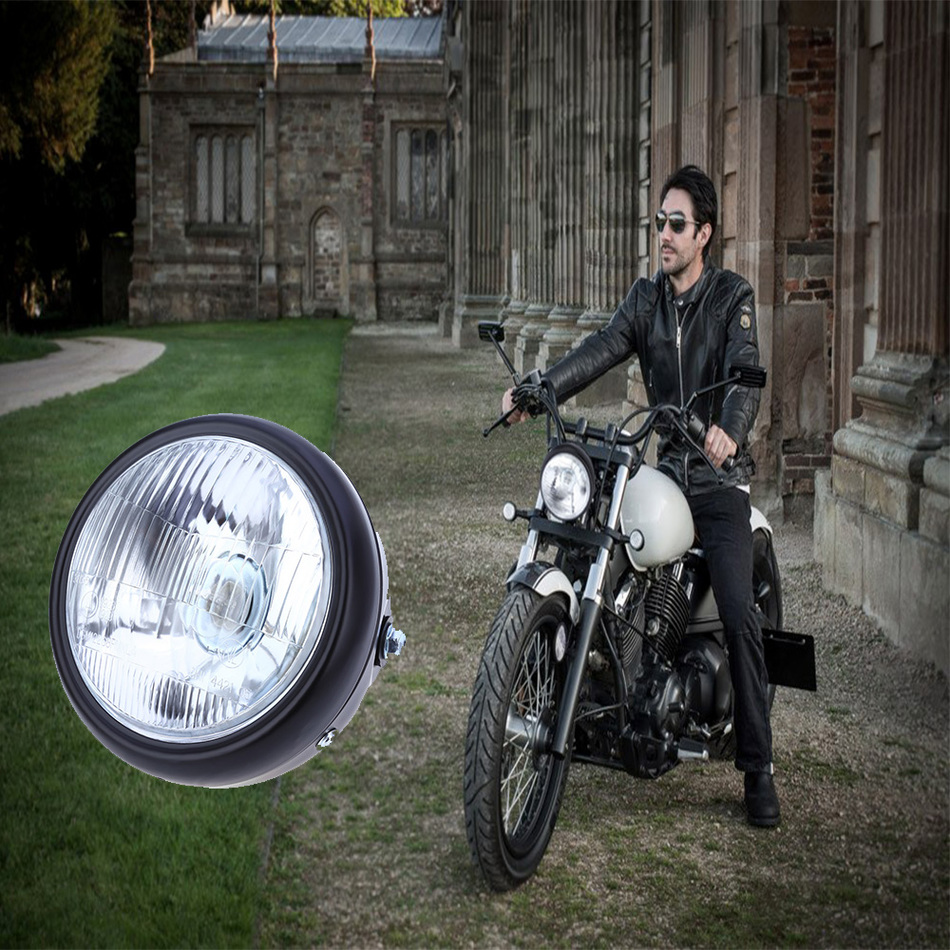 Motorcycle 35W 6-Inch Hi/Low Halogen Headlight W/Amber LED Turn Signal Lamp For CG125 GN125 CG200 Cafe Racer Bobber Custom(China (Mainland))