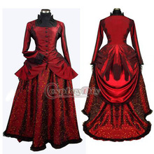 Free Shipping Custom-made Elegant Wine Red Medieval Victorian Dress Costume Gothic Punk Dress
