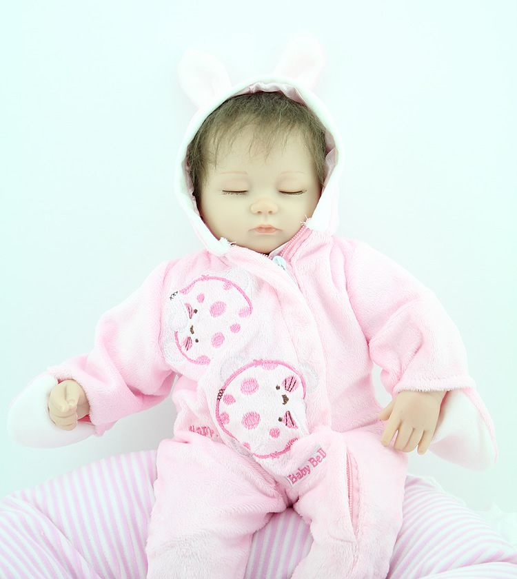 Realistic Sleeping 18'' Inches Mohair Soft Silicone Vinyl Reborn Baby Alive Doll Lifelike Dolls Toy(China (Mainland))