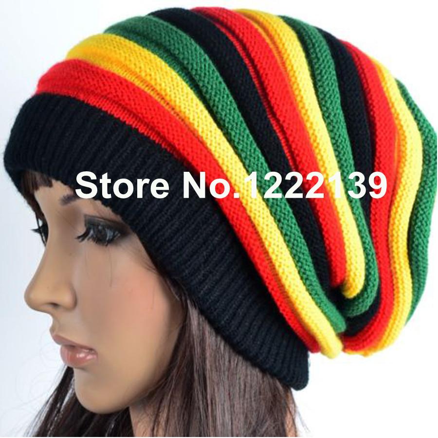 RASTA REGGAE JAMAICAN Beanie Slouchy Wrap Knitted Cap Fashion Hip Hop Bob Marley Style Black Green Yellow Red Stripe Hat(China (Mainland))