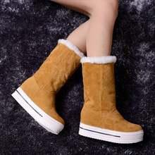 Bán buôn ngực Nữ Giày Nga Mùa Đông Giày Bốt Thời Trang Lông Ấm Áp sang trọng Giày Nữ Giữa bê Tuyết giày Nữ Giày(China)