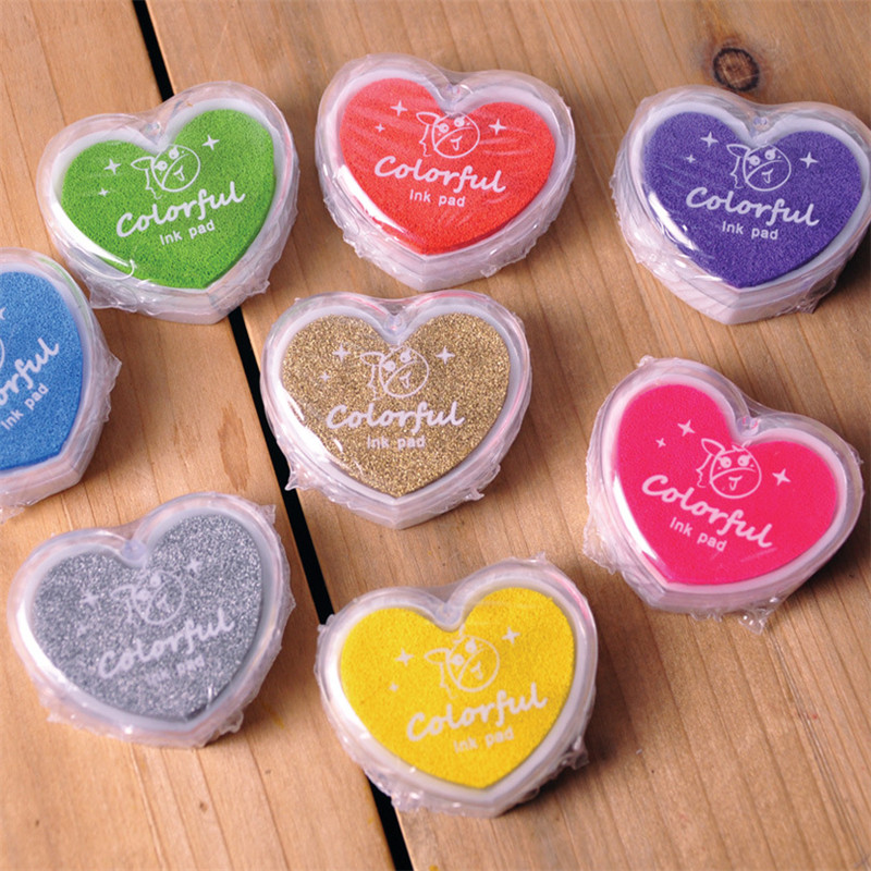 24pcs colorful Heart Ink Pad Draw DIY Paper Wood Fabric Rubber Stamp Scrapbook Albums Card Craft Inkpad()