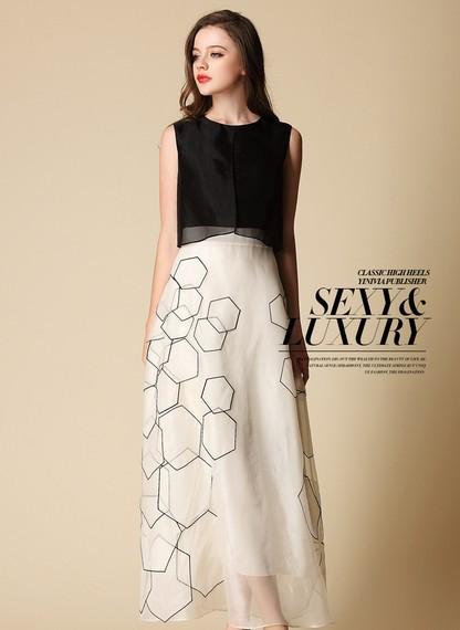 2014 Summer Vintage Bohemian Casual Sleeveless Dresses Women's Plus Size Silk Dress,High Quality dress ,Geometric designs  (China (Mainland))