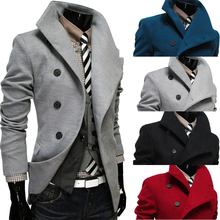2014 spring and autumn single breasted turn-down collar male wool coat slim fashion personality men's clothing black outerwear(China (Mainland))