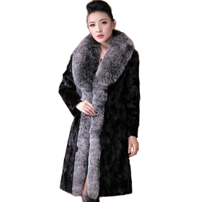 2015 new winter imitation silver fox fur collar long faux fur coats pelliccia women different from you with mink fur coatОдежда и ак�е��уары<br><br><br>Aliexpress