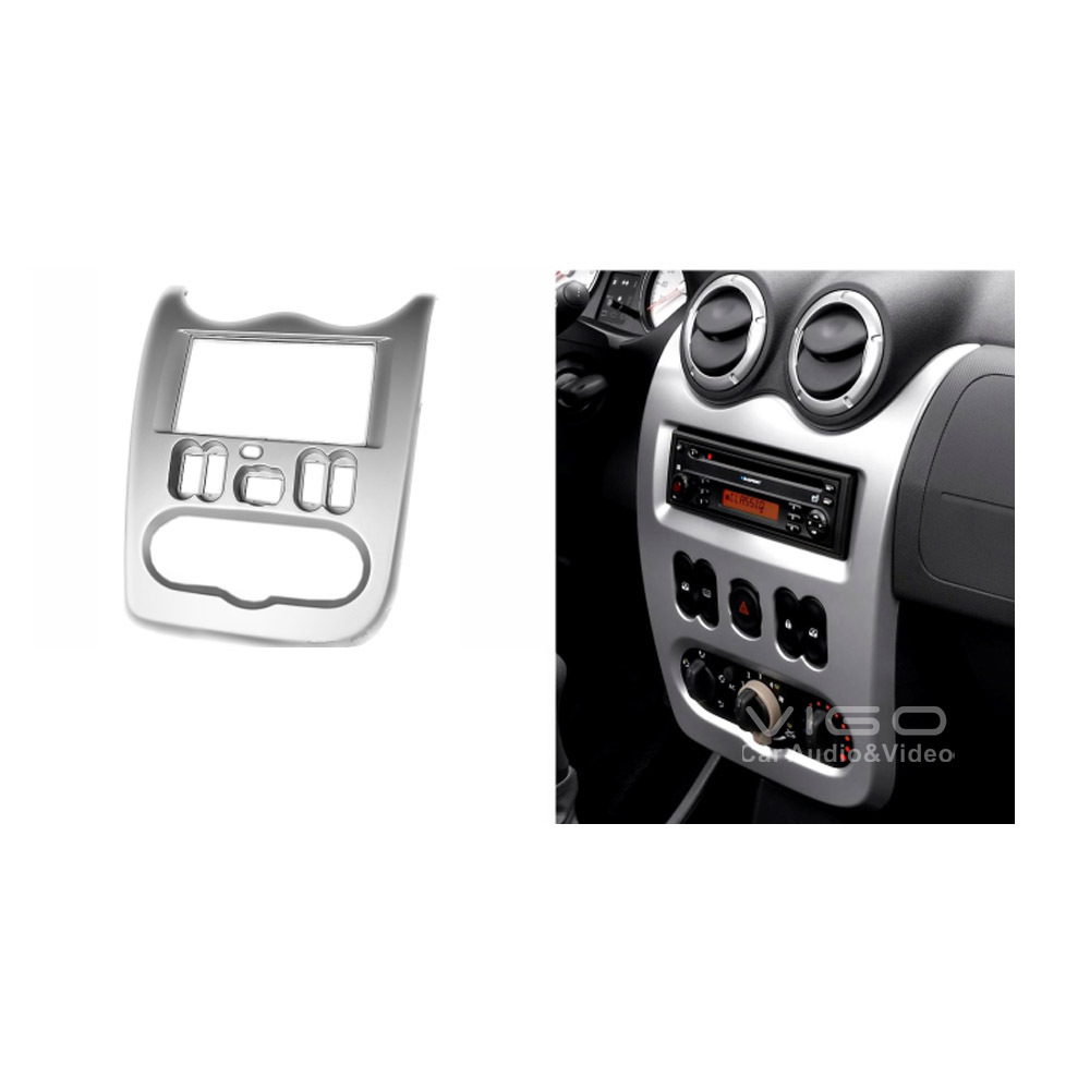 11-329 Car Audio Facia for RENAULT Logan Sandero DACIA Logan Stereo Dash Kit Installation Fascia Face Plate Panel Frame 2 DIN(Hong Kong)
