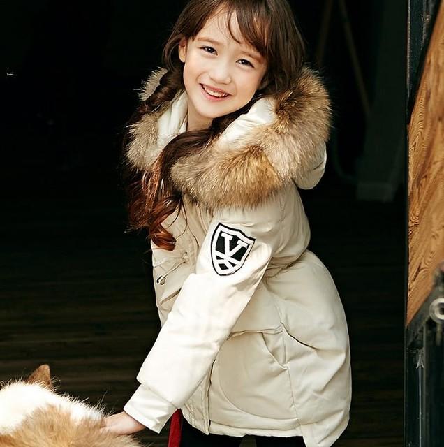 3℃ - -38℃ down coat 2016 зима новый высококачественный детская пуховик. 90% белая утка вниз. маленькая девочка вниз холодной открытый верхней одежды . down jacket for girl