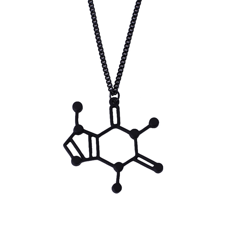 2015 New Design Simple Pendant Of Chemical Structure Chemistry The Caffeine Molecule Necklace Choker Necklace Free Shipping(China (Mainland))