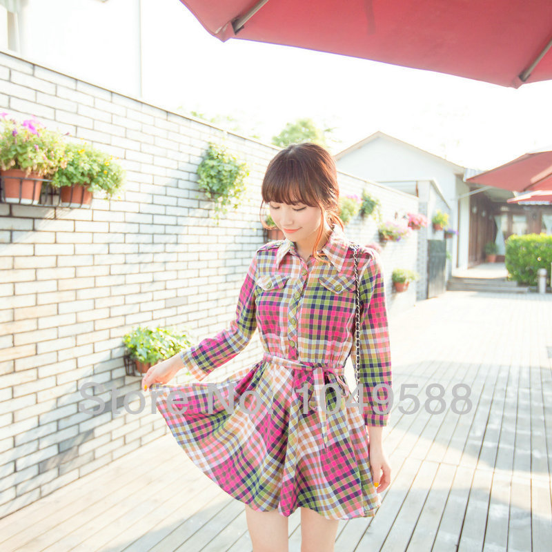New in 2014 Spring/Autumn Sweetheart Scottish Plaid Dress, Women Vestidos Dresses, Free Shipping.(China (Mainland))