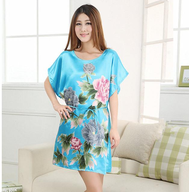 Светло-Голубой Женщин Халат Ванна Платье Ночная Рубашка Мило Пижамы Pijama Mujer ...