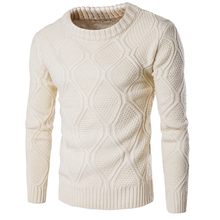 M-2XL Youth Woolen Knitwear Men O-Neck Long Sleeve Slim Warm Sweaters 2017 Grometric Pull Homme Black Beige Blue Pulllvers Tops(China (Mainland))