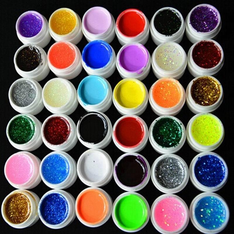 3Mix Color Pure Glitter Hexagon Sheet UV Builder Nail Gel Art Tip Set Tools - HeHui E Shop store