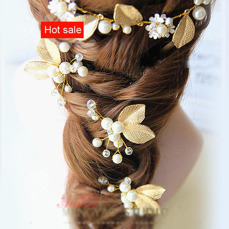 Gorgeous 9 * 5 cm Handmade Golden Leaves Headdress Wedding Decoration Valentine Day Gifts Photo Props(China (Mainland))