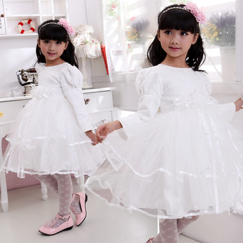2014 Special Offer Seconds Kill Women Flower Girl Pompon Dress Infant Clothes Child Dance Costume Princess Long-sleeve Female T2