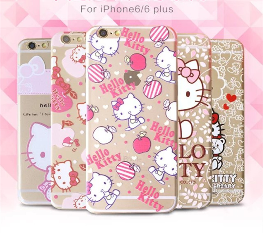 "Fashion Hello kitty Case For Coque iPhone 6 Case TPU Clear Pink Kitty Carcasa Funda For Capa Para iPhone 6s 4.7"" Cases Capinha(China (Mainland))"