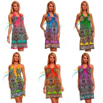 M XXL Plus Size 6 Colors Freeshipping 2014 New Fashion Women Halter Bohemian Printed Dress Beach Dress Summer Casual Dress  4144
