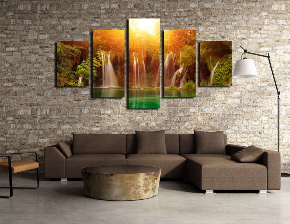 Buy unframed 5 panels waterfall and green for Buy canvas wall art