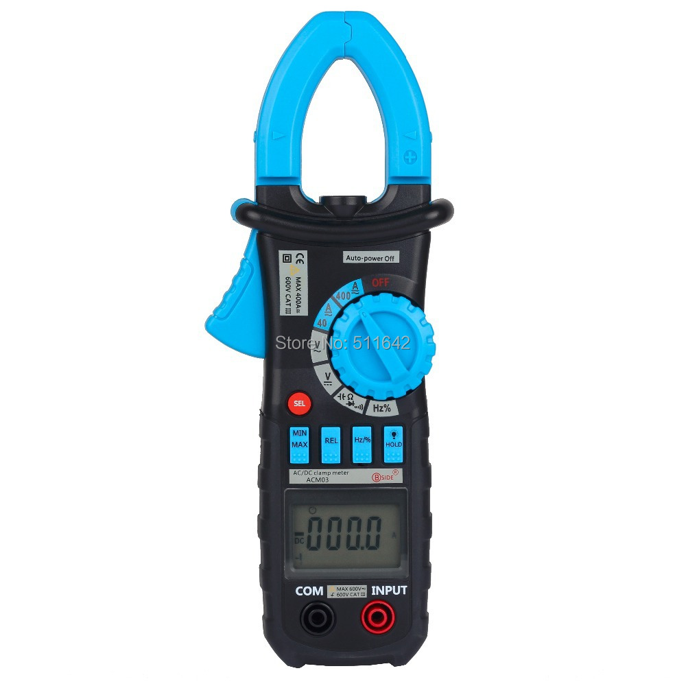Digital Clamp Meter Auto Range Multimeter AC DC Current Voltage Hz Frequency Capacitance Tester Bside ACM03(China (Mainland))
