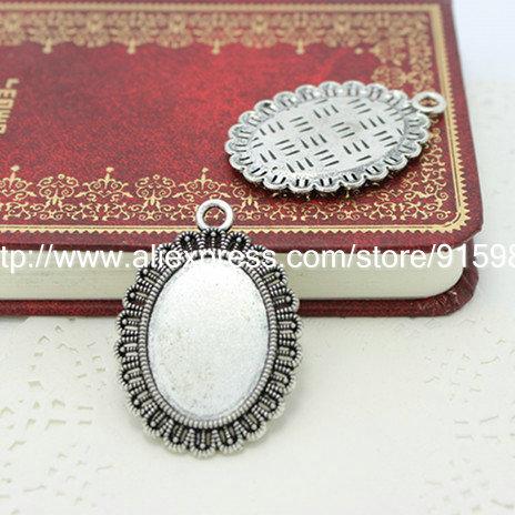 20pcs/lot vintage silver filigree cameo cabochon base setting pendant tray 18*25mm Jewelry Blanks K0007(China (Mainland))
