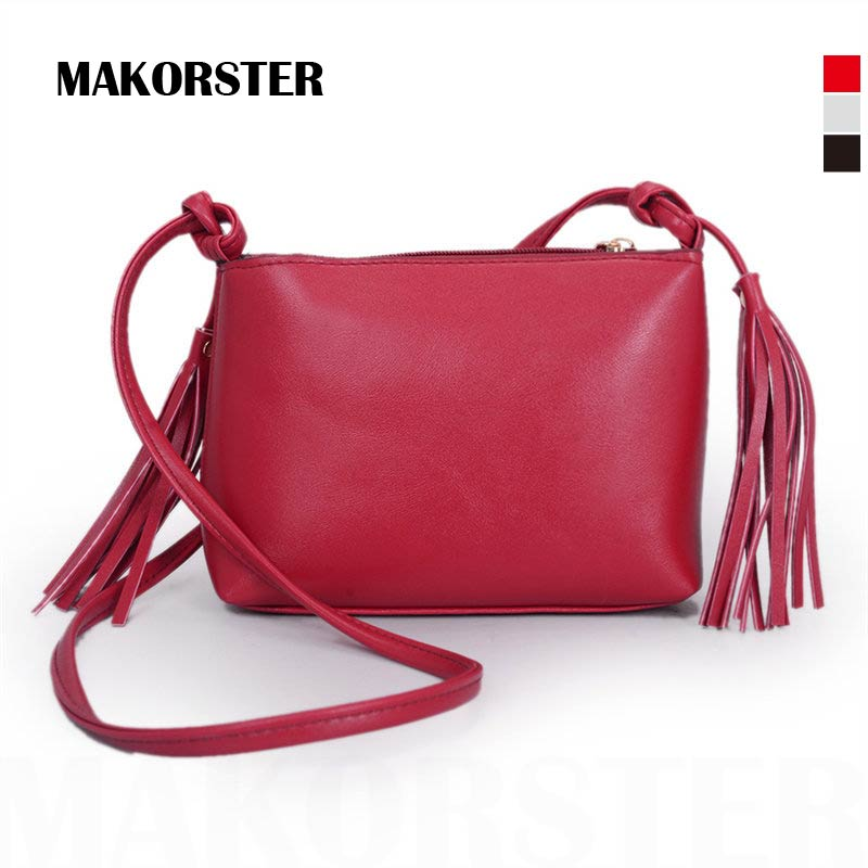 New Fashionable Tassel Women Messenger Bags Black Shoulder Summer Bag Female Soft Solid Crossbody lay shopping bag(China (Mainland))