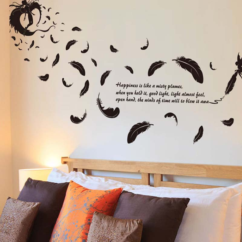 2016 new creative 3d flying feather wall sticker home for Terengganu home wallpaper 2016
