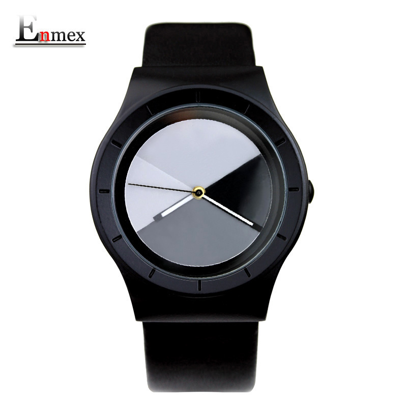 2016 men's gift Enmex special design wristwatch creative dial Changing patterns simple fashion for young peoples quartz watches(China (Mainland))