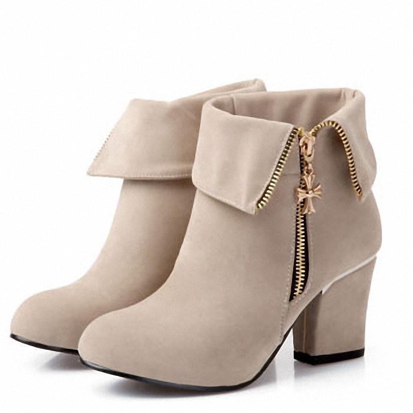 ENMAYER NewArrivals Ankle Boots heels Women Sexy Vintage Chains Winter platform Martin boots Round Toe Platform Boots size 34-43