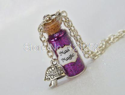 12pcs Cheshire  Mad Magic glass Bottle Necklace with a Mushroom Charm Alice in Wonderland Inspired necklace<br><br>Aliexpress