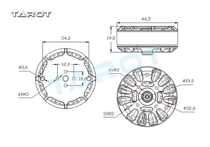 Tarot 4008 martin rc motor sem escova tl2955 rc quadcopter