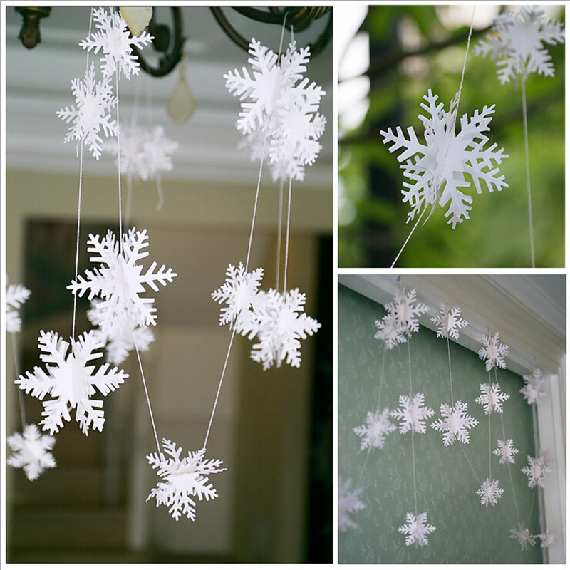 2015 New 12Pcs/String 3D Card Paper Christmas White Snowflake Ornaments Garland Holiday Festival Party Home Decor AY674287(China (Mainland))