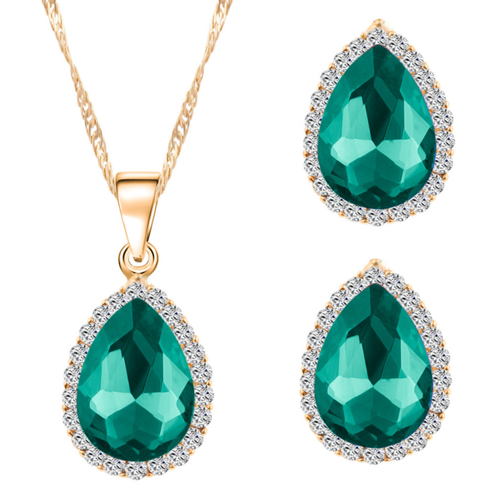 Women Green Black Blue Red Crystal For Bridal Wedding Cold Plated Chain  African Custome Pendant Jewelry Sets