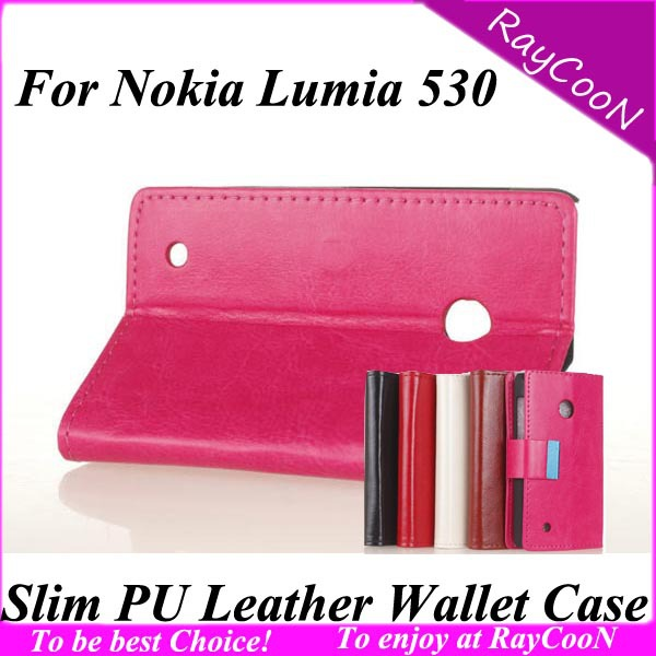 Free ship 10pcs/lot Stylish High quality PU leather stand cover for Nokia 530,Leather wallet case for Nokia 530,can mix 5 color