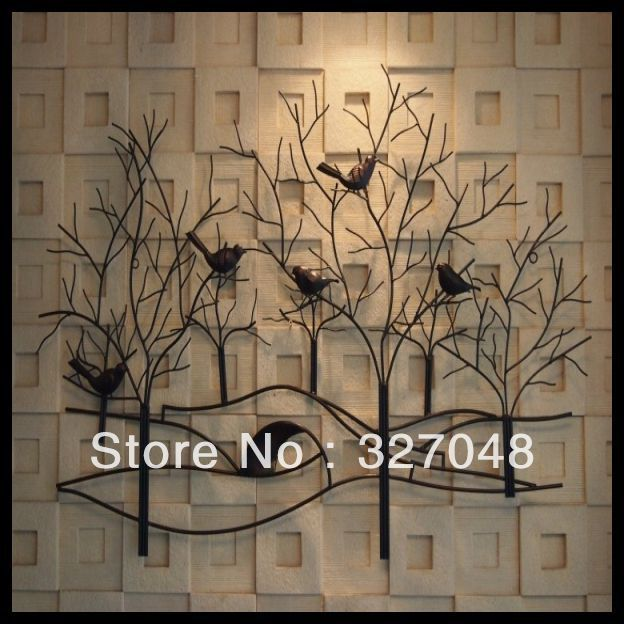 Free shipping Modern home decor crafts metal wall art sculpture with trees(China (Mainland))