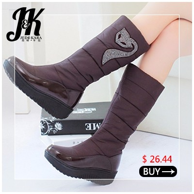Big Size 34-43 Cool Mid Calf Women Boots Add Fur Autumn Winter Boots Shoes Woman Vintage Chunky Heels Round Toe Casual Shoes