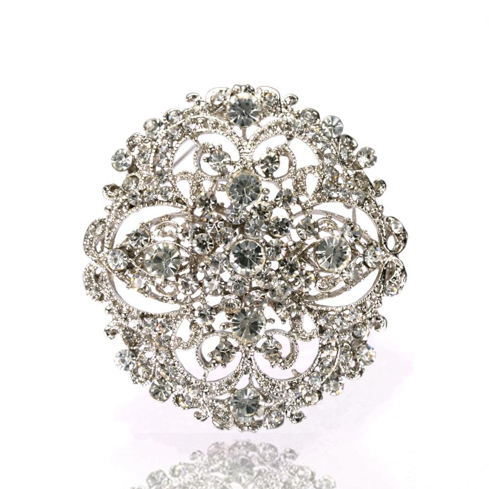 2.2 Inch Vintage Style Rhinestone Crystal Diamante Round Flower Brooch Wedding Invitation Pins Large - Yiwu Liangqian Accessories Firm (Mini Order>$8 store)