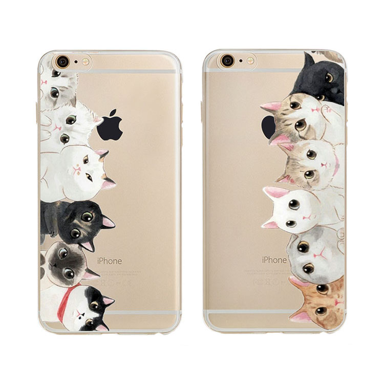 For Iphone 5 5s Cases Newest Super Cute Girls New Animal Because Cat Design Tpu Transparent Mobile Phone Case Cover(China (Mainland))