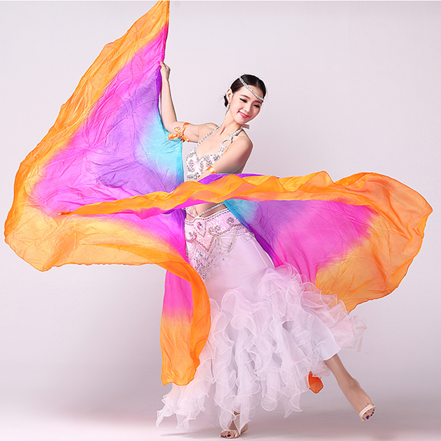 100% Silk Stage Performance Props 1 Pair Half Moon Silk Veil Dance Colorful with Wooden Sticks Belly Dance Isis WingsОдежда и ак�е��уары<br><br><br>Aliexpress