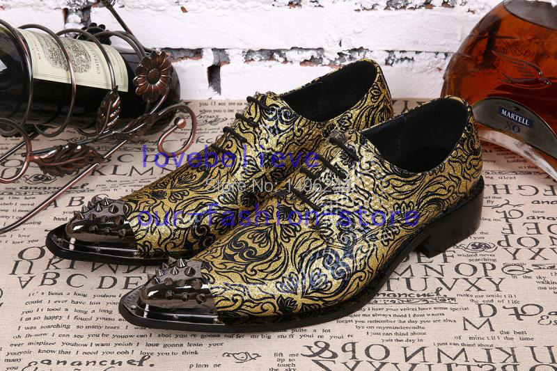 Фотография NEW arrival Embossing gold genuine cowskin leather Qshoes Osiris shoe a life steel-toe pointed-toe business Pre-order bar shoes