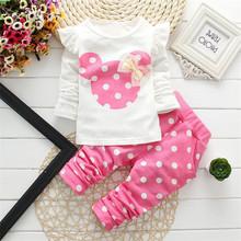 spring fashion cute cotton Baby girl full sleeve dot bow cartoon set kid clothes(China (Mainland))