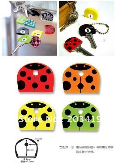cute PVC Key  Caps Covers Keys Set Easy Colourful Colorful set protector Identifier Keychain Case Shell 4pc/set