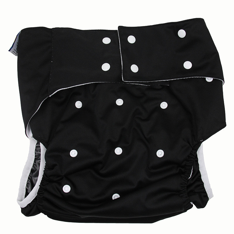 Black Adult incontinence Cloth diaper Washable Adult Diapers leak-proof pants cloth diaper Reusable diaper with insets