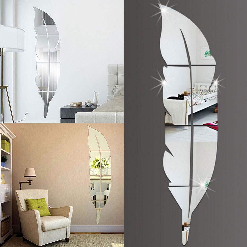Modern Plastic Wall Decor : Diy modern feather acrylic mirror wall sticker home decor