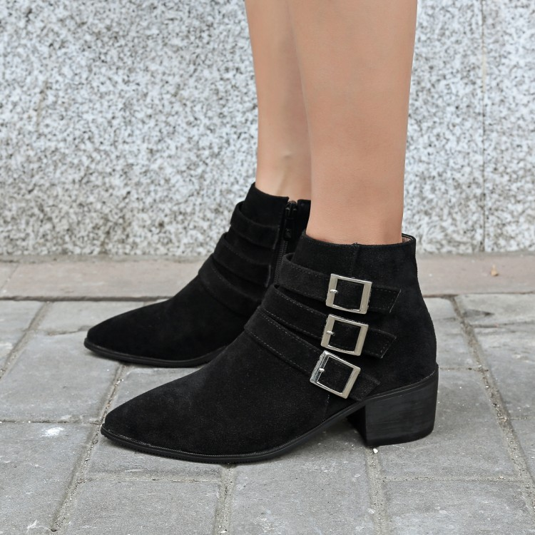 HAIOU Brands 2016 Women Ankle Boots High Heels Winter Short Cylinder Boots Square Heel Women Boots Pointed Toe Big Size Boots 48