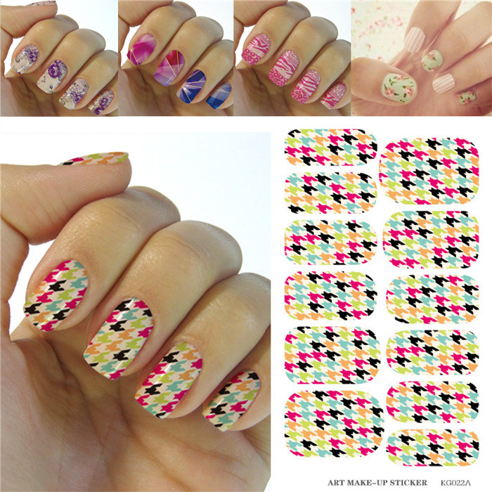 Minx Water Transfer Nail Decals Colorful Houndstooth Pattern Designs Nail Art Sticker Fashion Manicure Decor Tools Nail Wraps(China (Mainland))