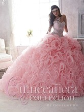 Detachable Skirt 2017 Ball Gown Sweetheart Floor Length Organza Ruffles Beaded Crystals Cheap Pink Quinceanera Dresses(China (Mainland))