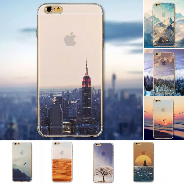 Beautiful City Mountain Ocean Tower Transparent Case Cover For Apple iPhone 6 6S Case 6 Series PC Crystal Hard Case For Phone(China (Mainland))